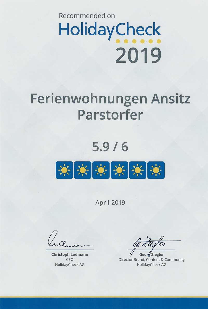Urkunde HolidayCheck 2019